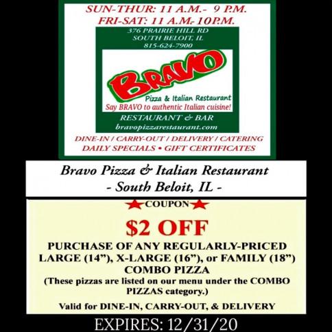 Coupons Specials Bravo Pizza Italian Restaurant
